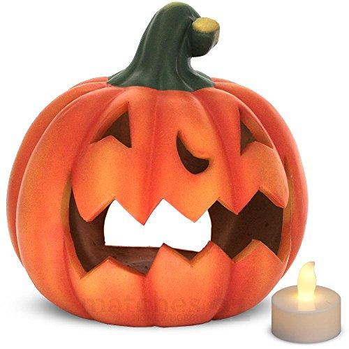 matches21 Kürbis Laterne Halloween Windlicht mit gruseliger Fratze Halloweendekoration Herbstdekoration Ton 21x19 cm inkl. LED Teelicht Beleuchtung