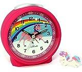 Atlanta Kinderwecker ohne Ticken für Mädchen Pink Einhorn mit Radiergummi - 1981-17 Rad