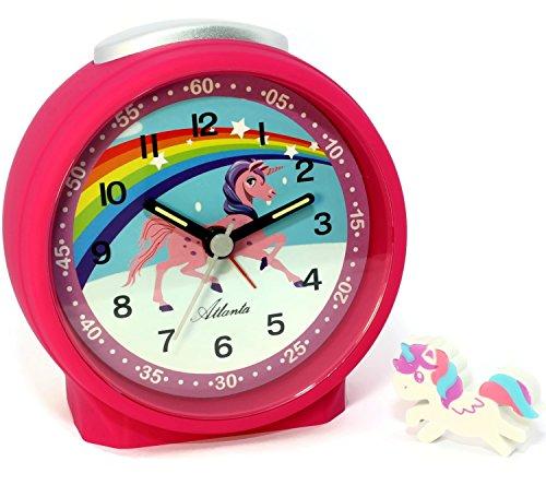 Atlanta Kinderwecker ohne Ticken für Mädchen Pink Einhorn mit Radiergummi - 1981-17RAD -