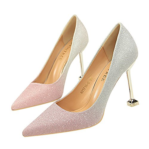 Frauen High Heel Abend Schuhe sexy spitz Bare Gürtel Slip in Gradienten Glitzer Kleid Stöckelschuhe, rosa, 40 -