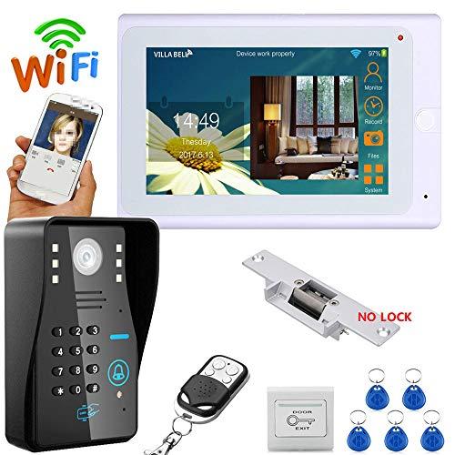 JaidWefj 7 Zoll Video Türklingel Intercom System/TFT LCD Monitore + IR-Cut HD 1000TVL Kamera mit elektrischer Schließvorrichtung/Remote APP Überwachung Intercom-außeneinheit