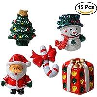 rosenice resina adornos de Navidad muñeco de nieve Santa Claus árbol de Navidad bastón de caramelo adornos en miniatura decoración DIY accesorios–15piezas