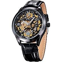 Treeweto - Reloj de pulsera para hombre, diseño de esqueleto mecánico automático, piel negra, XXL