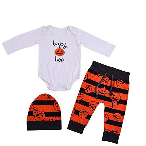 Pro 3Baumwolle Halloween Baby Kürbis Laterne Neugeborene Baby Anzug Strampler Schlafanzüge Halloween-Kostüm (Neugeborenen-halloween-kostüme)
