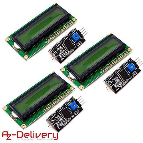 AZDelivery ⭐⭐⭐⭐⭐ 3 x HD44780 1602 LCD Modul Display Bundle mit I2C Schnittstelle 2x16 Zeichen mit gratis eBook! (mit grünem Hintergrund) 2 X 2 Lcd