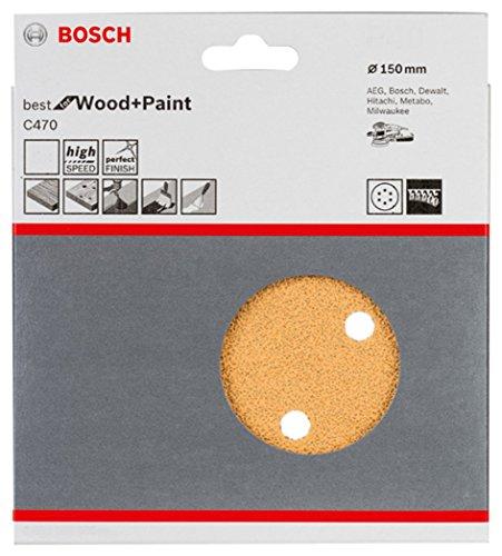 Bosch Professional Schleifblatt für Exzenterschleifer Holz und Farbe (5 Stück, Ø 150 mm, Körnung 120, C470)