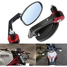 ViZe 7/8'' 22mm Retrovisores Laterales Espejo Trasera Universal Espejo Moto Para Yamaha Honda Triumph Ducati Negro