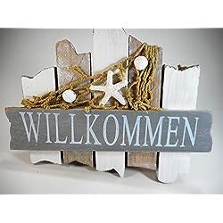 Willkommen Badezimmer Schild 18 cm Möwe Beach Maritim Wohnen Deko GRF 39.0625