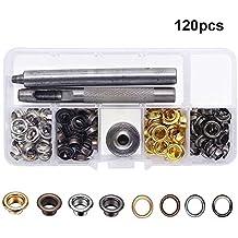 Yakamoz botones de presión Kit de anillas con 120con ojales remache costura metal, Claveles Craft con herramienta de fijación para la ropa de tela y piel de bricolaje Craft cuatro colores (120Set)
