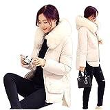 iHAIPI - Winter Damen neue dicke Daunenjacke großen Haar Kragen langen Absatz warme Baumwolle Mantel Jacke Übergangsjacke Leichte Größe M-2XL (XXL, Weißer Reis)