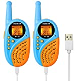 Retevis RT35 Walkie Talkie für Kinder PMR446 Funkgerät 8 Kanäle 0,5W USB Wiederaufladbar Walki Talki VOX mit Taschenlampe Wecker Kinder Spielzeug Spy-Gear (1 Paar, Blau)