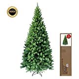 RS Trade® SLIM 240 cm ca. 1160 Spitzen hochwertiger künstlicher Weihnachtsbaum mit Metallständer, Minutenschneller Aufbau mit Klappsystem, schwer entflammbar, HXTS 1101