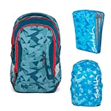 satch Sleek Petrol Triangle 3-teiliges Set Rucksack, Triple Flex & Regenhaube blau