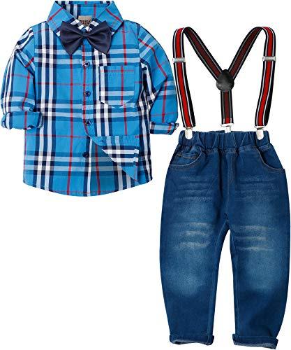 Zoerea Baby Jungen Bekleidungssets Hosen & Shirt Gentleman Hosenträger Krawatte Jeans Kleinkind Outfits Blau,Größe 100