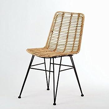 Korb-Stuhl im Retro-Stil aus echtem Rattan mit Eisen