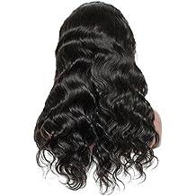 Rokoo Mujeres Virgen brasileña 24inch Peluca del cuerpo del pelo humano Wave Lace Front Peluca Glueless Lace Wig Hair Bundle Accessories