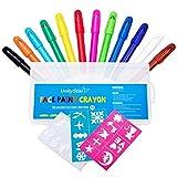 Face Crayons, unitystar Face Paint Kit con 12Twist up Sticks + 24Bono pintura plantillas para niños partes cumpleaños Halloween cara pintura juegos, no tóxico, agua, ideal regalo o presente