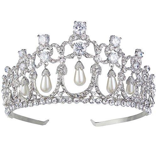 EVER FAITH Damen Diademe Kristall Simulierte Perle CZ Vintage Style Braut Haar Krone Tiara Klar Silber-Ton