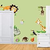 Rainbow Fox Jungle Wild Animal León, jirafa, mono pared Vinilo Adhesivo Adhesivos para niños bebé dormitorio