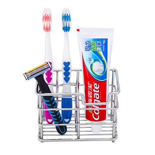Zahnbürstenhalter Edelstahl Zahnpasta Ständer Badezimmer-Organisator für 4 Zahnbürsten 1 Zahnpasta