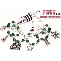 Set di 6Natale vino vetro ciondoli (Verde) + * * Natale Bottiglia Di Vino Tappo in acciaio inox * *, presentato in Pretty coulisse sacchetti regalo in organza, fatto a mano da solo dire perline - Stella Vino Charm