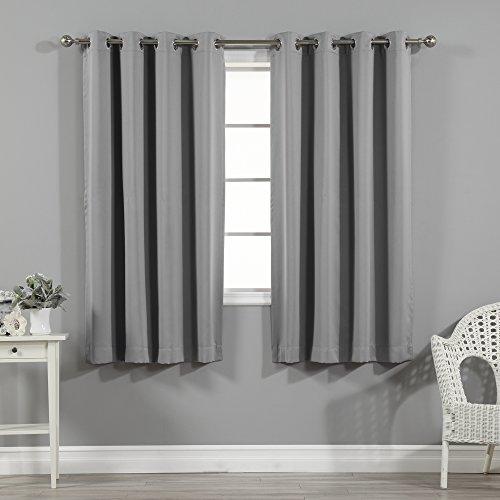 "Best Home Fashion Thermal Insulated Neroout Curtains - Stainless Steel Nickel Grommet Top - Grey - 52""W x 63""L - (Set of 2 Panels)"