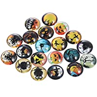 ‏‪ULTNICE 60pcs Halloween Glass Dome Cabochons Pumpkin Witch Owl Half Round Flat backs Glass Cabochons Button Phonecover for DIY Jewelry Making 12mm‬‏