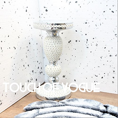 Touch of Vogue TOV® Silver Mirrored Side Table Modern Plant Stands Bed Side Sparkle End Romany Pearl
