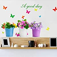 TYKCRt Wall Sticker Diy Potted Plant Bonsai Home Decor Butterfly Sticker For Living Room Garden Home Decoration Waterproof