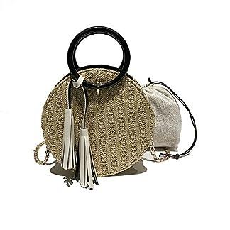 OneMoreT – Cesta redonda de mimbre circular para mujer, estilo bandolera, bolsa para la playa, regalo, amarillo