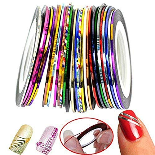 Nageldesign Nail Art Stripes Tape Zierstreifen Packung mit 30 Rollen Striping Tape in verschiedenen Farben - Acryl Pinsel-reiniger