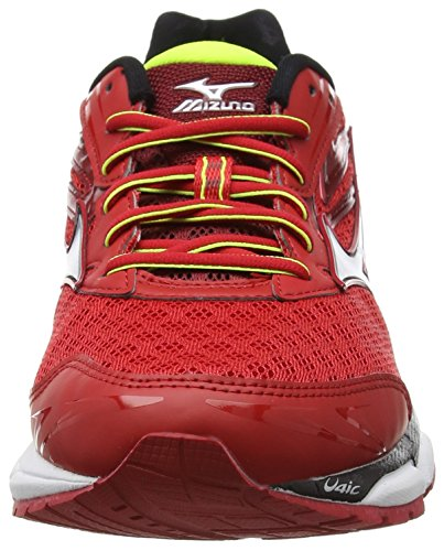 Mizuno Wave Inspire 12, Chaussures de Running Compétition homme Rouge - Red (Chinese Red/Silver/Safety Yellow)