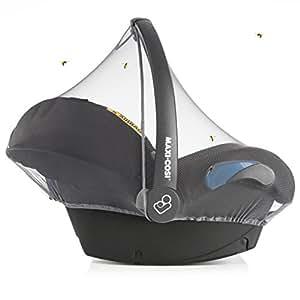 Universal Insektenschutz für Babyschale - Mückennetz für Baby Autositze (z.B. Maxi-Cosi, Cybex, Römer uvm.) | feinmaschiges Moskitonetz mit Gummizug und Trageöffnung - Grau