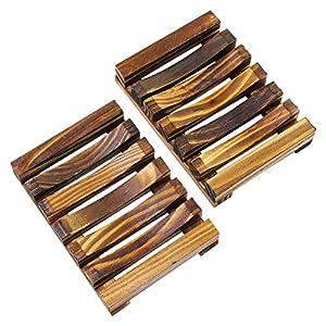KEESIN – Caja de jabón de bambú natural, soporte para jabonera de madera, para baño de ducha rectangular escurridor de…