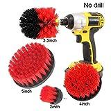 ieenay 4 Uni/Set Piastrelle Grout Power Scrub Cleaning Trapano Brush Pulitore Vasca Kit Combinato - Rosso, Medium