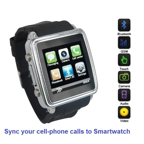 SmartWatch (Black): Smartwatch (Sync calls to iPhones, Android Phones, Bluetooth Phones) with Quad-Band GSM Bluetooth Cell Phone, Music and Video Multimedia Player, FM radio, Camera. (Includes 8GB Micro-SD Memory Card, and Micro/Nano-to-Mini SIM Card Adapters) Sms Flat Screen