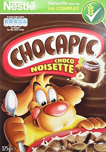 Nestlé Chocapic Choco Noisettes Céréales du Petit Déjeuner Paquet de 375 g - Lot de 4