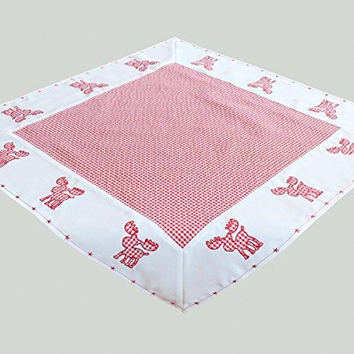 (heimtexland Tischdecke Weihnachten Vichy Karo rot weiß mit süßer Elch Applikation Bestickt und Sterne Bordüre Mitteldecke 85x85 cm Typ292)