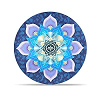 DZX Meditation Mat/Round Yoga Mat, Non-Slip Natural Rubber Thick Printed Floor Mat, Diameter 65cm (Unisex),D