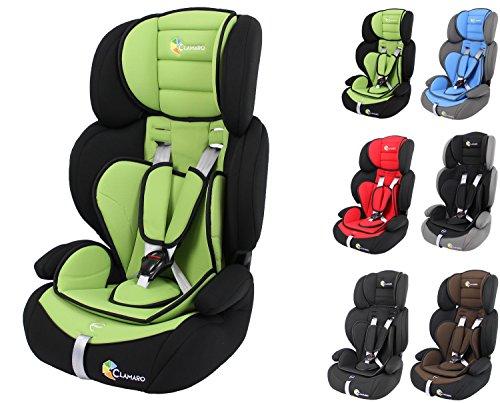 Clamaro 'Guardian 2018' Kinderautositz 9-36 kg verstellbar und mitwachsend, Auto Kindersitz für Kinder von 1-12 Jahre, Gruppe 1/2/3, ECE R44/04, Farbe: Schwarz Grün
