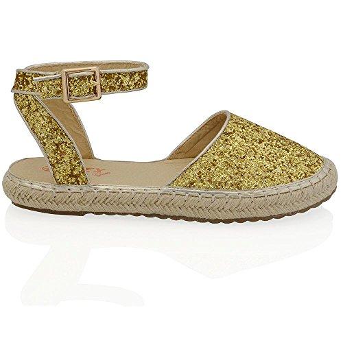 Damen Pastell Silber Glitzerstaub Flache Espadrilles Sommer Knöchelriemen Freizeit Halb Schuhe EU 37 ESSEX GLAM emOKHaK