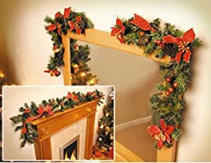 Poinsettia Garland And Corner Swags Christmas Decorations ...