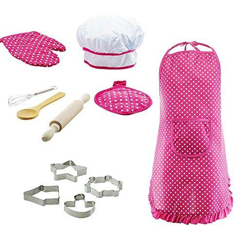 KOBWA Kinderkoch Outfit Set, Wasserdichte Kinderschürzen Küche Kochrolle Pretend Play, Anzieh Kostüm Play Set für Kleinkind, 11 Stück (Für Elf Kleinkinder Outfits)