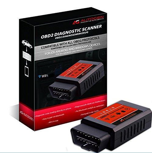Obd-ii-scanner Wifi (WIFI OBD2 Auto Diagnosegerät, AUTOGEN® Auto Scanner Diagnose-Scanner mit OBDII für Android, und iOS, Windows, Fehlerspeicher lesen und löschen, Unterstützte Fahrzeuge Benzin PKWs mit OBD 2 Protokolle ab 2001)