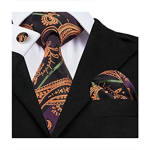 Hi-Tie Classic Paisley Necktie Set for Men Woven Silk