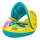 TOAOB bebé natación ayudas anillo de natación con techo corredizo 0-3 años bote inflable para niños para diversión acuática diversión familiar en mar mar piscina