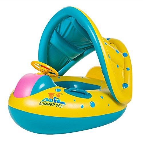 TOAOB Bouée Bébé Flotteur Bateau Anneau de Natation Siège Gonflable Floating Jouet avec Pare-soleil pour Bébés Enfants für 0 - 3 ans