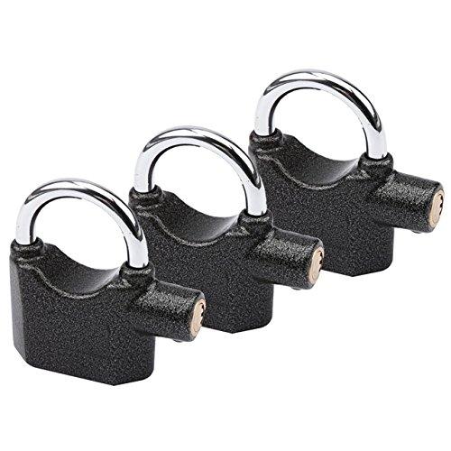 3 Stück Premium OLYMPIA S100 Alarmschloss mit Schlüssel -- Korrosionsgeschützt -- Sicherheitszylinder -- 100 dB Sirene | Alarmgesichertes Vorhängeschloss, Hangschloss | Großes Vorhang-Schloss mit Alarm