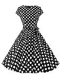 Caissen Damen 50er Vintage Retro Flügelärmel Rockabilly Karneval Kleid Geblümt Punkte Swing Partykleid mit Gürtel Schwarz Weiße Gepunktet Größe XXL