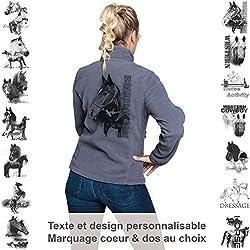 Pets-easy Veste Femme en Polaire Gris personnalisé avec Un Cheval - Tenue d'équitation Taille 2XL